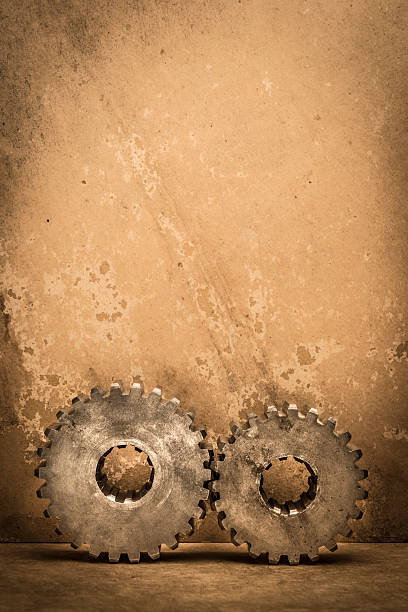 Gears On Textured Paper Wall Art