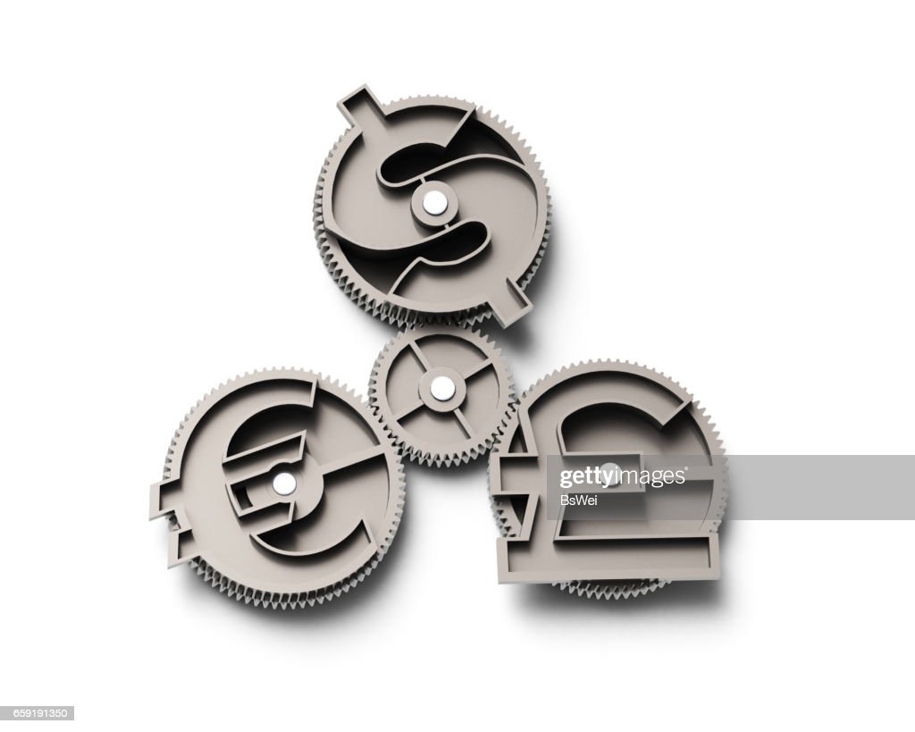 Gears With Dollar Sign Pound And Euro Symbol 3d Illustration Stock