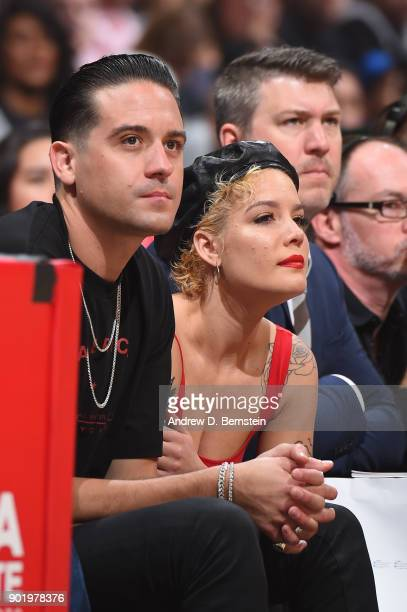 Easy and Halsey attend the game between the Los Angeles Clippers and the Golden State Warriors on January 6 2018 at STAPLES Center in Los Angeles...