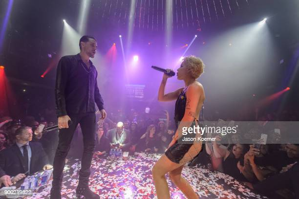 Easy and Halsey perform on stage during GEasy Halsey Ring in the New Year 2018t E11EVEN on December 31 2017 in Miami Florida