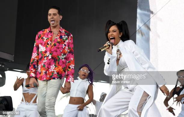 Eazy and Cardi B perform onstage during the 2018 Coachella Valley Music and Arts Festival Weekend 1 at the Empire Polo Field on April 15 2018 in...