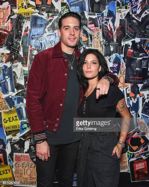 Eazy and Halsey attend GEazy's debut limited capsule collection 'Gerry's' in partnership with Bud Light at The Santos Bar on August 29 2017 in New...