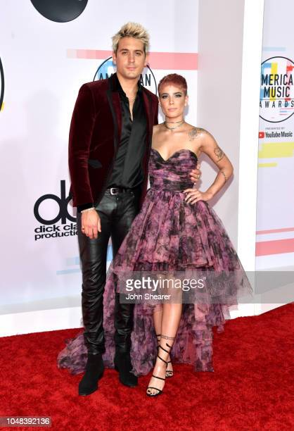 Eazy and Halsey attend the 2018 American Music Awards at Microsoft Theater on October 9 2018 in Los Angeles California