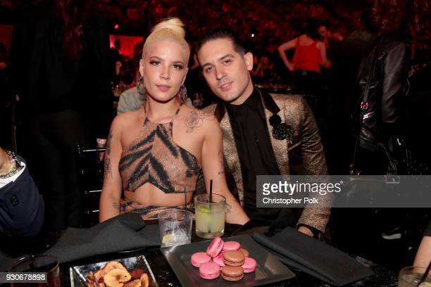 Eazy and Halsey attend the 2018 iHeartRadio Music Awards which broadcasted live on TBS TNT and truTV at The Forum on March 11 2018 in Inglewood...
