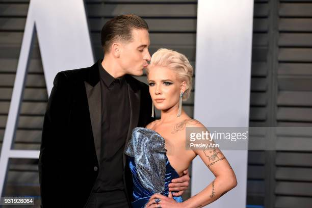 Eazy and Halsey attend the 2018 Vanity Fair Oscar Party Hosted By Radhika Jones Arrivals at Wallis Annenberg Center for the Performing Arts on March...