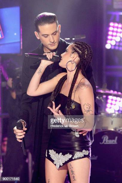 Eazy and Halsey perform onstage during Dick Clark's New Year's Rockin' Eve with Ryan Seacrest 2018 on December 31 2017 in Los Angeles California
