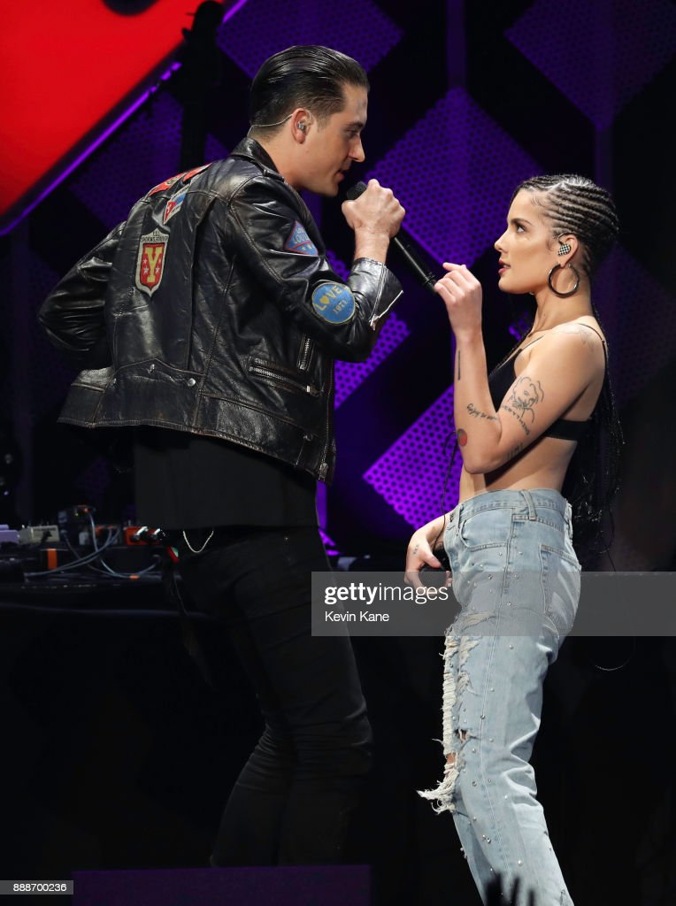 G-Eazy and Halsey perform onstage during Z100's iHeartRadio Jingle Ball 2017 at Madison Square Garden on December 8, 2017 in New York City.