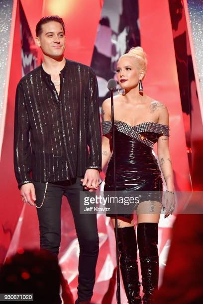 Eazy and Halsey speak onstage during the 2018 iHeartRadio Music Awards which broadcasted live on TBS TNT and truTV at The Forum on March 11 2018 in...