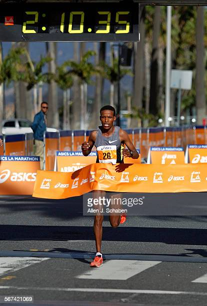 Gebo Burka of Addis Ababa Ethiopia wins the elite Mens division of the 29th annual LA Marathon in Santa Monica Sunday March 9 2014 More than 25000...
