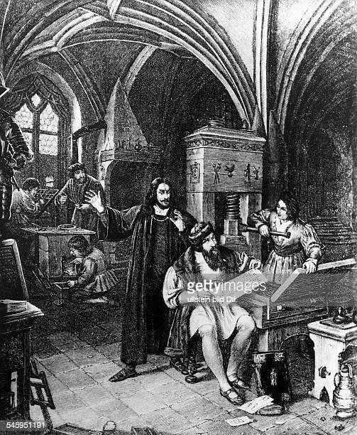 geboren zwischen 1394 u 1399 gest 1468 mit Johann Fust und PeterSchöffer in seiner Druckerei