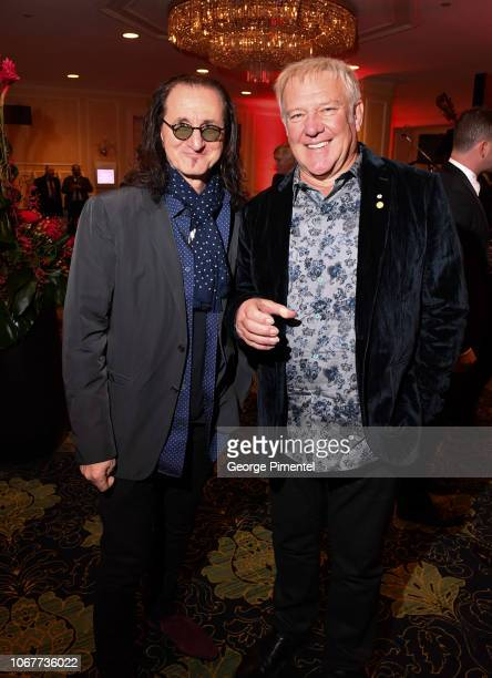 Geddy Lee and Alex Lifeson from the band RUSH attend 2018 Canada's Walk Of Fame Awards held at Sony Centre for the Performing Arts on December 1 2018...