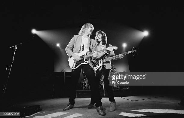 Geddy Lee and Alex Lifeson perform live on stage at Wembley Arena in London on November 05 1981 on ExitStage Left tour