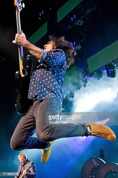 Geddy Lee of Rush performs at the First Midwest Bank Amphitheatre on June 28 2013 in Tinley Park Illinois