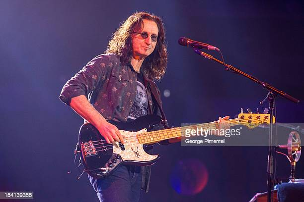 Geddy Lee of Rush performs from the Clockwork Angels Tour at Air Canada Centre on October 14 2012 in Toronto Canada