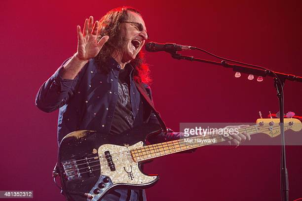 Geddy Lee of Rush performs on stage during the R40 LIVE Tour at KeyArena on July 19 2015 in Seattle Washington
