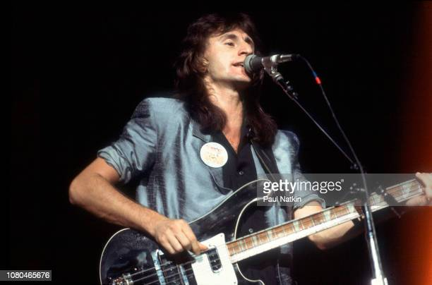 Geddy Lee of the band Rush performs at the Rosemont Horizon in Rosemont Illinois November 19 1982
