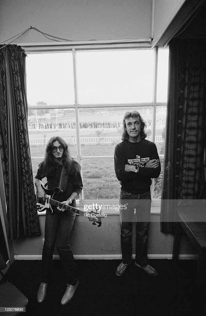 Geddy Lee, singer and bassist with drummer Neil Peart, both of Canadian rock band Rush, backstage ahead of the band's gig at Bingley Hall in Stafford, Staffordshire, England, United Kingdom, 21 September 1979.