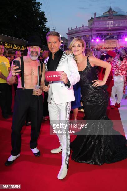 Gedeon Burkhard, Alfons Haider, Miriam Weichselbraun during the Life Ball 2018 at City Hall on June 2, 2018 in Vienna, Austria. The Life Ball, an...