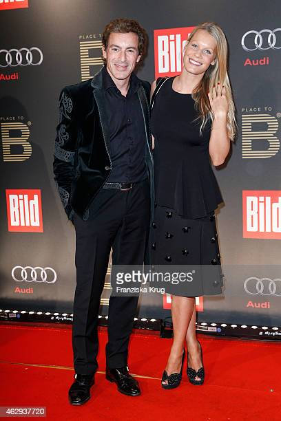 Gedeon Burkhard and Anika Bormann attend the Bild 'Place to B' Party on February 07 2015 in Berlin Germany