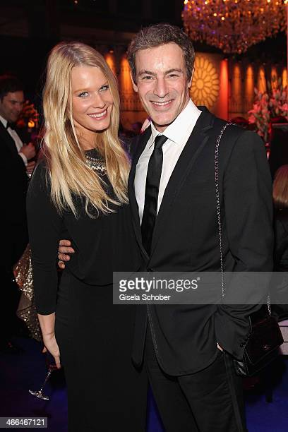 Gedeon Burkhard and girlfriend Anika Bormann attend the after show party of Goldene Kamera 2014 Hangar 7 at Tempelhof Airport on February 1 2014 in...