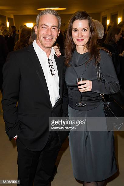 Gedeon Burkhard and guest attend the BZ Kulturpreis 2017 at Staatsoper im Schiller Theater on January 24 2017 in Berlin Germany