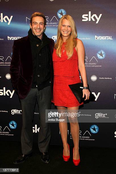 Gedeon Burkhard and his girlfriend Anika Bormann arrive to the Mira Award 2012 ceremony at eWerk on January 26 2012 in Berlin Germany