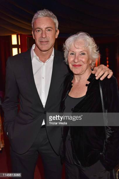 Gedeon Burkhard and his mother Elisabeth von Molo attend the awarding of the German Synchronous Prize on May 23, 2019 in Berlin, Germany.