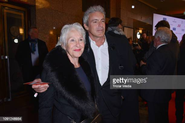 Gedeon Burkhard and his mother Elisabeth von Molo during the B.Z. Kulturpreis 2019 at Volksbuehne on January 29, 2019 in Berlin, Germany.