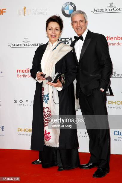 Gedeon Burkhard and his mother Elisabeth von Molo during the Lola - German Film Award red carpet arrivals at Messe Berlin on April 28, 2017 in...