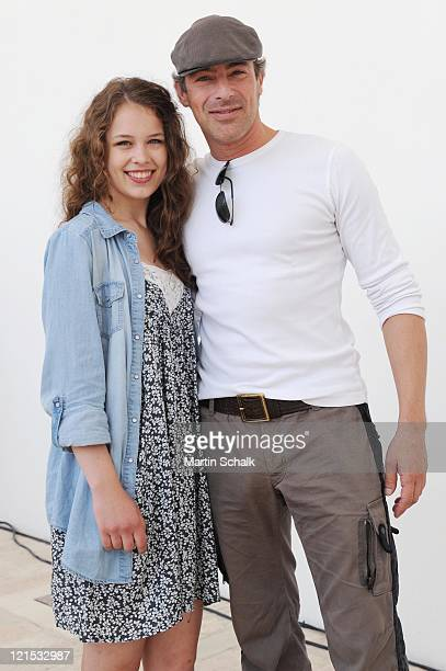 Gedeon Burkhard and Paula Beer attend the photocall for the Ludwig II movie at Castle Hof on August 20, 2011 in Hof near Vienna, Austria. 125 years...