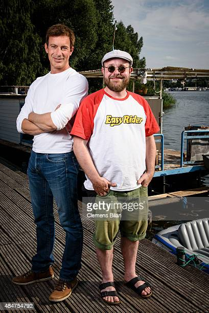 Gedeon Burkhard and Tobias Kasimirowicz on set during the shooting for the new local production 'Kaept'n Kasi Auf hoher Spree' by TV channel HISTORY...
