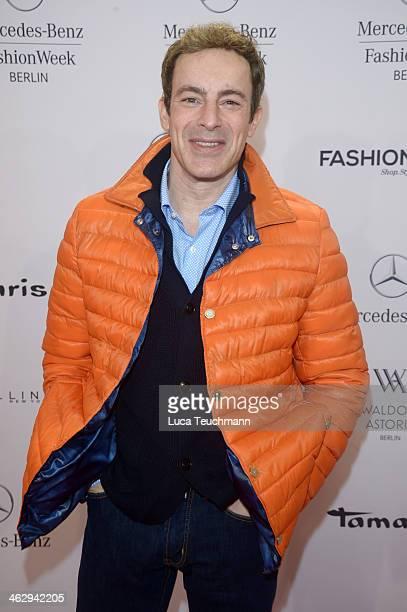 Gedeon Burkhard attends the Holy Ghost show during MercedesBenz Fashion Week Autumn/Winter 2014/15 at Brandenburg Gate on January 16 2014 in Berlin...