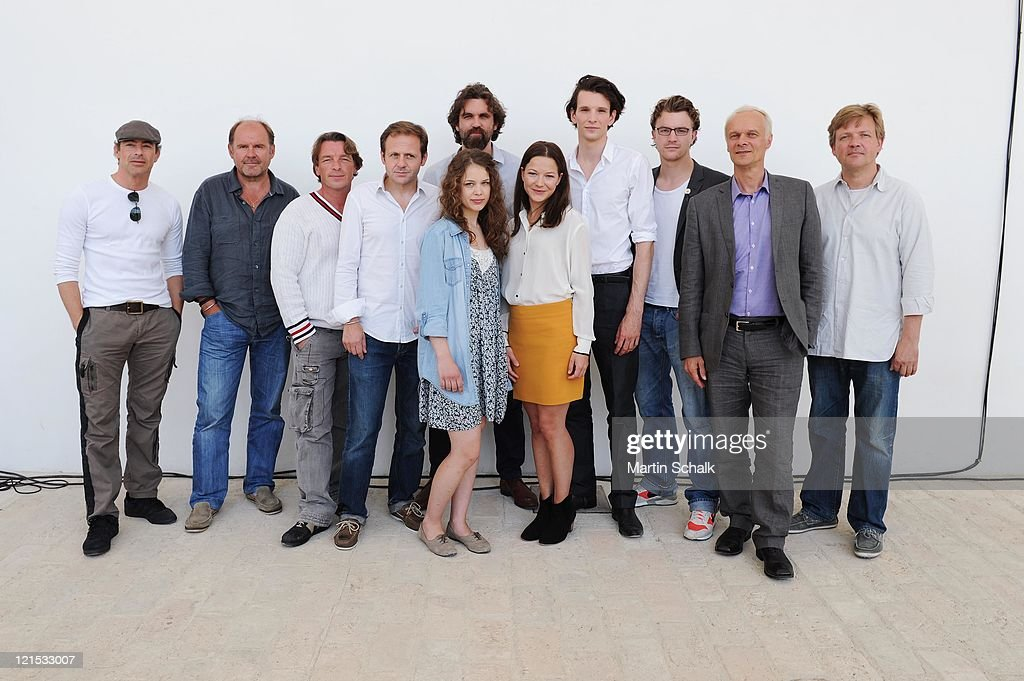 Gedeon Burkhard, August Schmoelzer, Andre Eisermann, Justus von Dohnanyi, Paula Beer, Sebastian Schipper, Hannah Herzsprung, Sabin Tambrea, Friedrich Muecke, Edgar Selge and Samuel Finzi attend the photocall for the Ludwig II movie at Castle Hof on August 20, 2011 in Hof near Vienna, Austria. 125 years after his death King Ludwig II remains a fascinating personality for many people and his heritage, the castles Neuschwanstein, Linderhof and Herrenchiemsee are still today tourist attractions. The movie will be shot in original locations and hit the cinemas in december 2012.