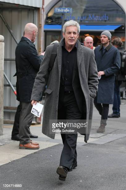 Gedeon Burkhard during the memorial ceremony for Joseph Vilsmaier at St. Michael Kirche on March 2, 2020 in Munich, Germany.
