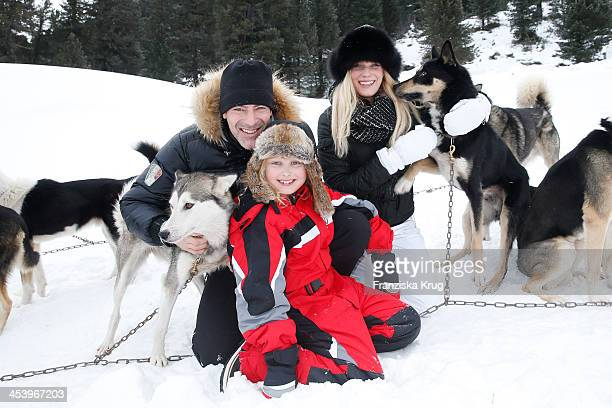 Gedeon Burkhard Gioia Filomena Burkhard and Anika Bormann attend the Sledge Dog Race Training Tirol Cross Mountain 2013 on December 06 2013 in...