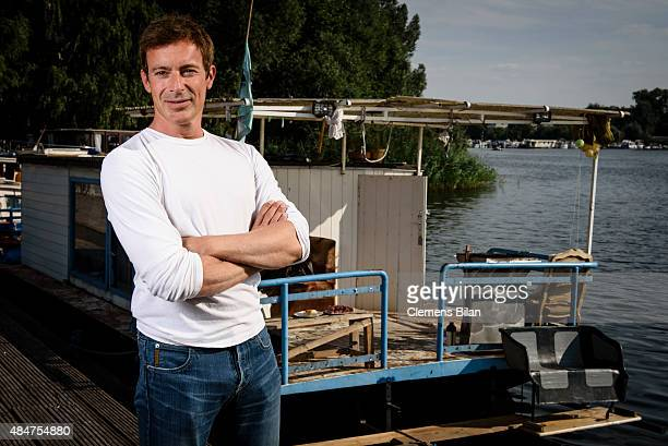 Gedeon Burkhard poses on set during the shooting for the new local production 'Kaept'n Kasi - Auf hoher Spree' by TV channel HISTORY on August 20,...