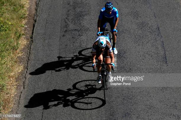 Gediminas Bagdonas of Lithuania and AG2R La Mondiale / Carlos Verona of Spain and Movistar Team / during the 16th Tour of Britain 2019 Stage 7 a...