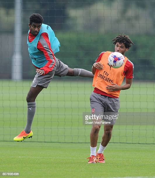 Gedion Zelalem and Mohamed Elneny of Arsenal during a training session at London Colney on September 19 2016 in St Albans England