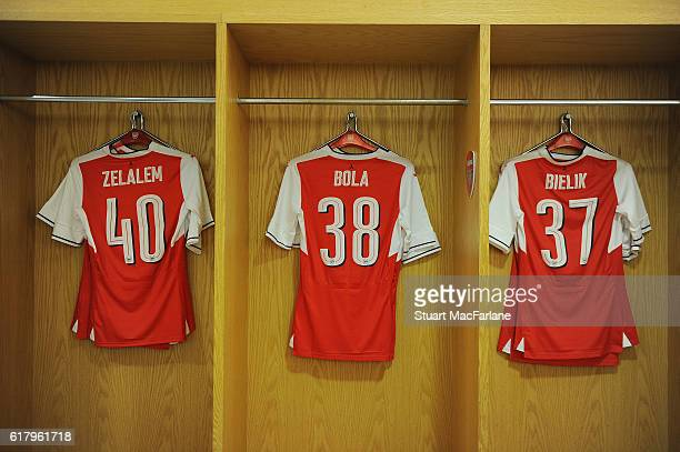 Gedion Zelalem Marc Bola and Krystian Bielik shirts in the Arsenal changing room before the EFL Cup Fourth Round match between Arsenal and Reading at...