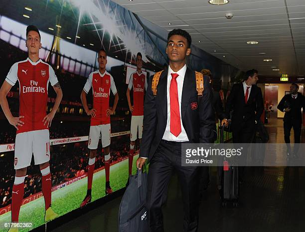 Gedion Zelalem of Arsenal arrives at the stadium before the match between Arsenal and Reading at Emirates Stadium on October 25 2016 in London England