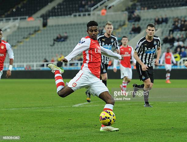Gedion Zelalem of Arsenal during the match between Newcastle United and Arsenal in the Barclays U21 Premier League at St James Park on February 9...