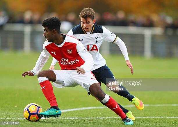 Gedion Zelalem of Arsenal is closed down by Tom Carroll of Tottenham Hotspur during the Premier League 2 match between Tottenham Hotspur and Arsenal...