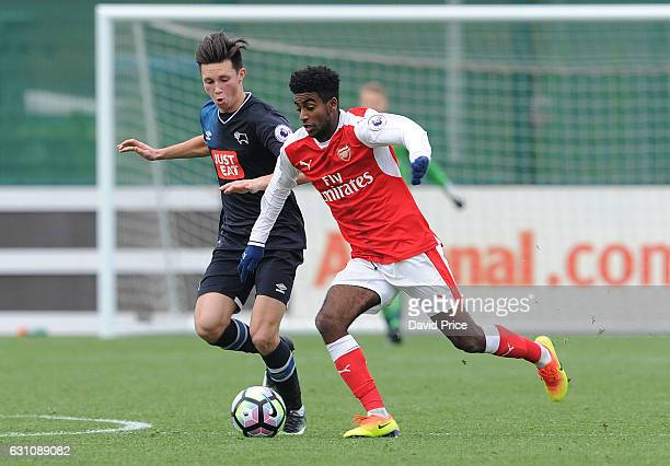 Gedion Zelalem of Arsenal takes on Alex Babos of Derby during the match between Arsenal U23 and Derby County U23 at London Colney on January 6 2017...