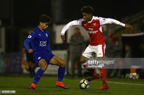 Gedion Zelalem of Arsenal takes on Dylan Watts of Leicester City during the Premier League 2 match between Arsenal and Leicester City at Meadow Park...