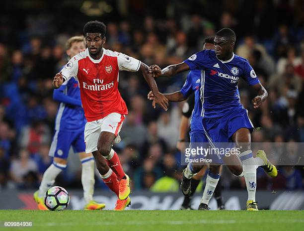 Gedion Zelalem of Arsenal takes on Fikayo Tomori of Chelsea during the match between Chelsea U23 and Arsenal U23 at Stamford Bridge on September 23...