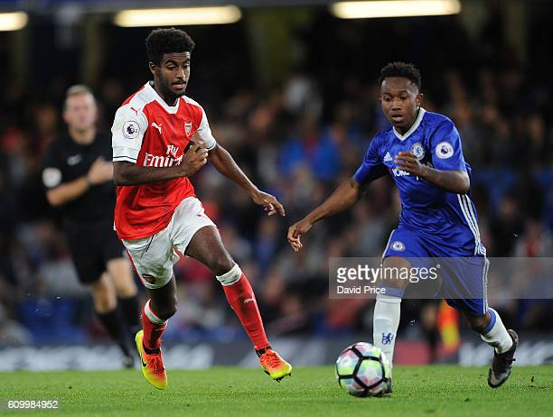 Gedion Zelalem of Arsenal takes on Josimar Quintero of Chelsea during the match between Chelsea U23 and Arsenal U23 at Stamford Bridge on September...