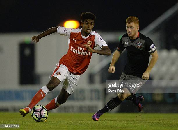Gedion Zelalem of Arsenal under pressure from Harrison Reed of Southampton during the match between Arsenal U23 and Southampton U23 at Meadow Park on...