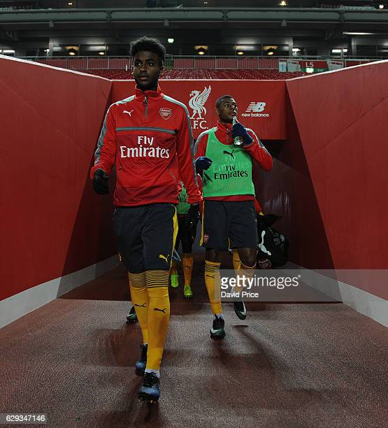 Gedion Zelalem of Arsenal walks out to warm up before the Premier League match between Arsenal and Stoke City at Anfield on December 12 2016 in...
