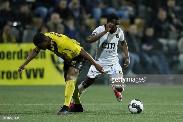 Gedion Zelalem of VVV Venlo Thomas Agyepong of NAC Bredaduring the Dutch Jupiler League match between VVV Venlo and NAC Breda at Seacon stadium De...