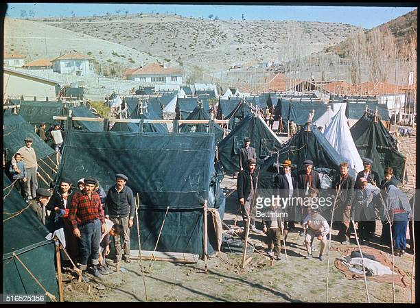 In the wake of a series of tragic earthquakes tent cities such as this have sprung up all over the city of Gediz More than 90000 persons are homeless...